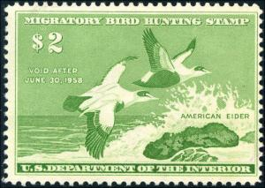 1957 US Federal Duck Stamp #RW24a Inverted Inscription Super Scarce Certified