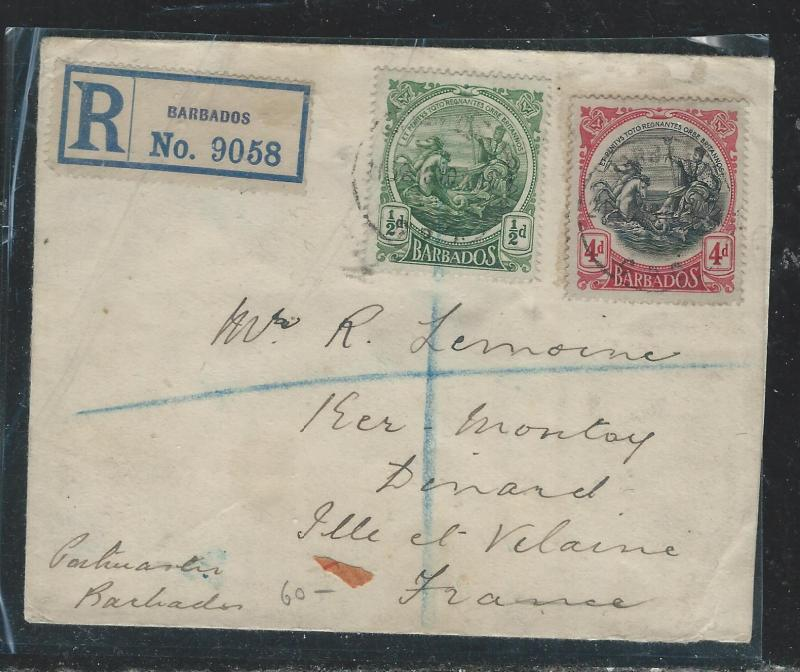 BARBADOS (P2906B) SEA HORSE 1/2D+4D ON REG COVER TO FRANCE 1910