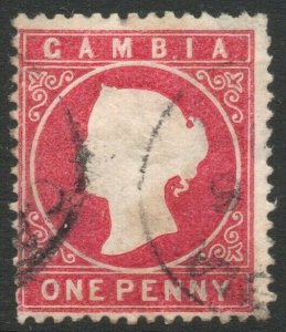 GAMBIA-1887 1d Crimson Sg 23 GOOD USED V46457