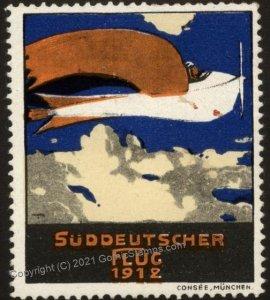 Germany 1912 Sueddeutscher Flug Original Luftpost Flight MNH Vignette Ci G102782