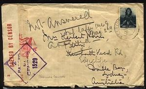 SOUTH AFRICA WW2 double censor cover to Australia..........................19379