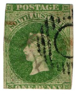 (I.B) Australia - South Australia Postal : 1d Green (SG 5)