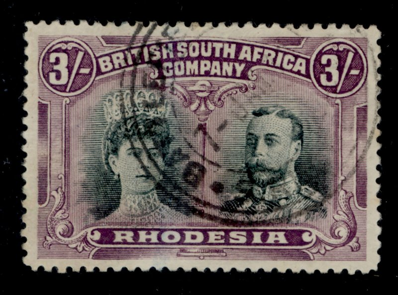 RHODESIA SG158a, 3s bright green and magenta, FINE USED. Cat £850.