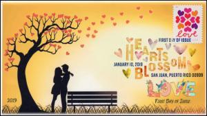 19-003, 2019, SC 5339, Hearts Blossom, Digital Color  Postmark, FDC
