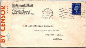 Globe & Mail London UK > Globe & Mail Toronto Canada 1940 WWII censored cover