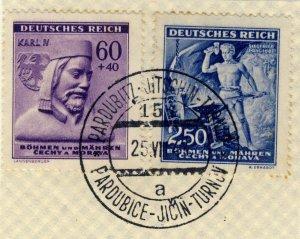 BÖHMEN u. MAHREN 1943 PARDUBITZ-JITSCHIN-TURNAU TPO n°154a CDS on Mi.114 & 130