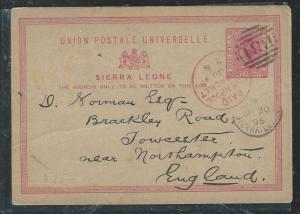 SIERRA LEONE (P0404B) 1895 QV PSC 1D TO ENGLAND, RED LIVERPOOL PACKET CANCEL