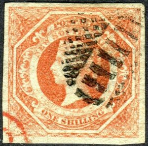 NEW SOUTH WALES-1854 1/- Rosy Vermilion.  A fine used example Sg 99