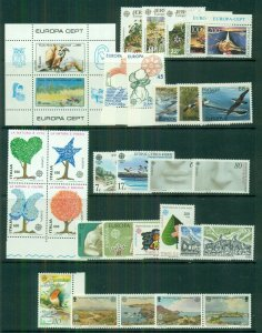 EUROPA Worldwide 1986 sets, 35 diff countries, Complete, og, NH, Scott $165.00