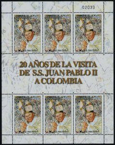 Colombia 1260 sheet MNH Pope John Paul II
