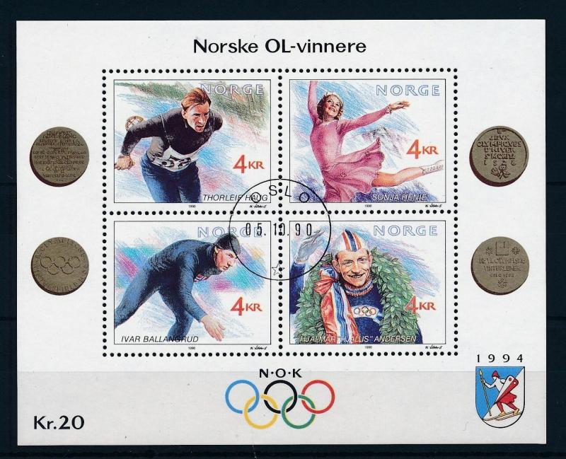 [59864] Norway 1990 Olympic winter games Lillehammer Souvenir Sheet Used