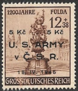 US ARMY IN CZECHOSLOVAKIA 1945 Private Contemporary Issue on Germany Stamp FAULT