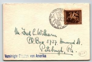 Germany SC# B119 on Brown Ribbon Cover to USA w/ Card - Z13306