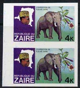 Zaire 1979 River Expedition 4k Elephant u/m imperf pair (...