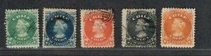 Chile Sc#15-19a Used/F-VF, 12 Mint NG, Cv. $109.60