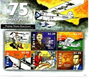 TUVALU - 2008 - Wiley Post Round World Flight - Perf 6v Sheet - M N H