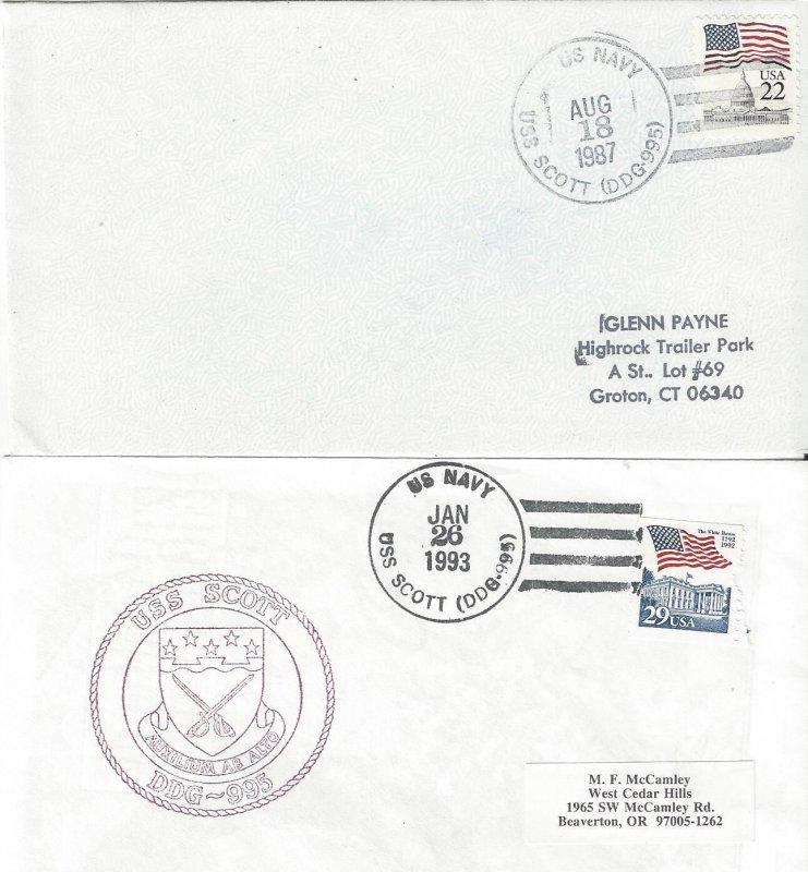 US Naval Cover USS Scott DDG 995  1987, 1993