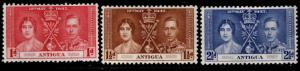 ANTIGUA Scott 81-83 MH* 1937 Coronation set