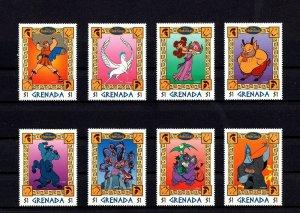 GRENADA - 1998 - DISNEY - HERCULES - ANIMATED MOVIE - 8 X MINT MNH SET!