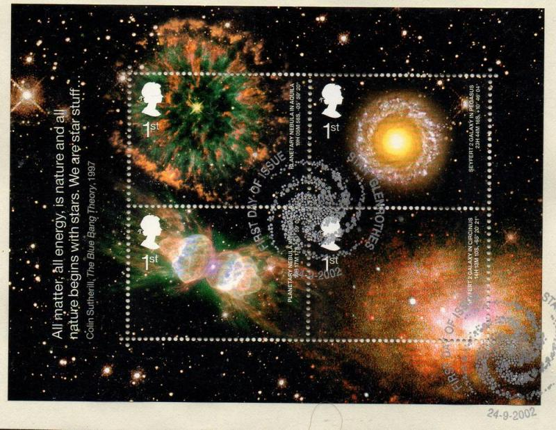 Great Britain Sc 2075 2002 Astronomy stamp sheet used