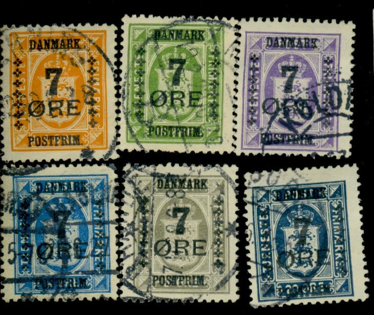 Denmark #185-87 189-91 Used F-VF Cat$246