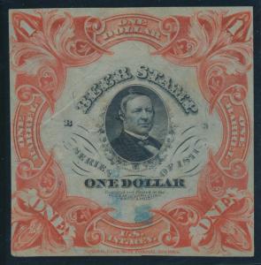 #REA28c $1 1871 BEER STAMP SCARLET ON GREEN SILK PAPER VF+ (APP) CV $500 BU8493