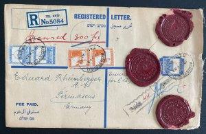 1933 Tel Aviv Palestine Registered Red Wax Seal Cover To Pirmasens Germany