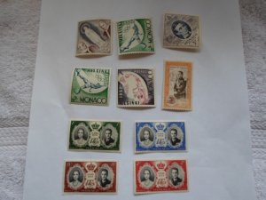 MONACO STAMOS. LOT OF TEN STAMPS #1 LOT 3 ( M HINGED )