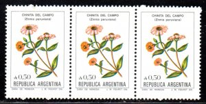 ARGENTINA 1523 MNH STRIP3 BIN $3.00 FLOWERS