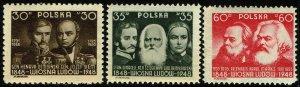 Poland #430-32  MNH - Revolutionary Leaders (1948)