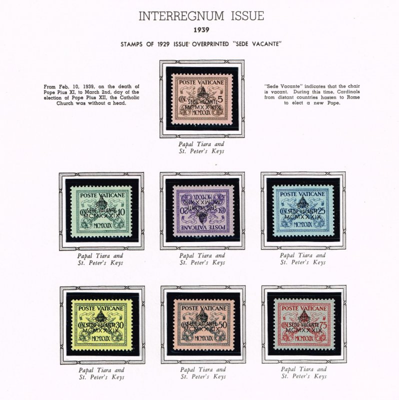 ITALY VATICAN CITY MH/OG STAMPS COLLECTION LOT #9 1939 Black Overprint SET $50