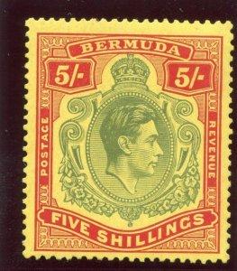 Bermuda 1938 KGVI 5s green & red/yellow MLH. SG 118.