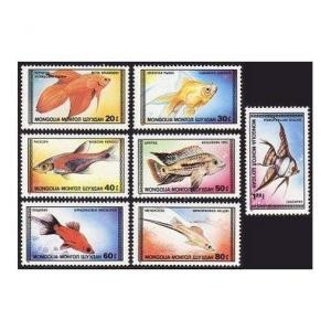 Mongolia 1639-1645,1646,MNH.Michel 1836-1842,1843 Bl.119. Tropical Fish 1987.