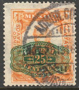 MEXICO 580, 25cents ON 5cent BARRIL SURCHARGE USED (250)