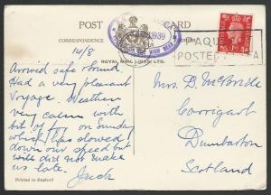 GB 1939 postcard SS Alcantara - London Paquebot machine cancel.............53208