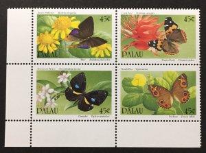 Palau 1990 #245a Block of 4, Butterflies & Flowers, MNH.