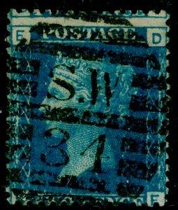 SG46, 2d blue plate 13, USED. Cat £27. DE