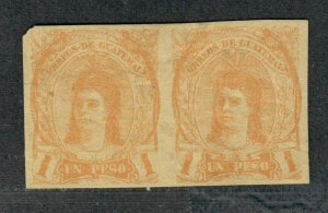 Guatemala Sc#14a M/VF, Pair, Left Stamp Has Faults, Cv. $215