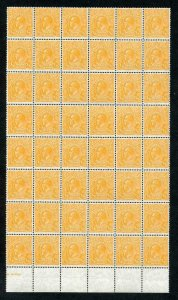 Australia SG124 1/2d Orange Wmk C of A U/M Block of 48 Cat 528 as m/m singles