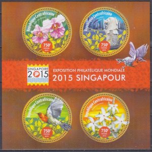 2015 Central African Republic 5630-33KL Birds / Flowers 14,00 €