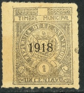 EL SALVADOR 1918 1c ARMS Municipal Revenue Rouletted Ross M209f MNGAI
