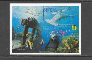 FISH - GRENADA GRENADINES #1731 HAMMERHEAD SHARK  MNH