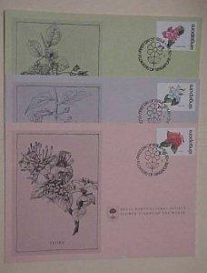 SINGAPORE  3 FDC  CARDS FLOWERS 1980  CACHET UNADDRESSED