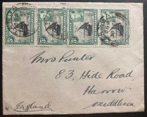 1937 Tanga Tanganyika British KUT Cover To Harrow England