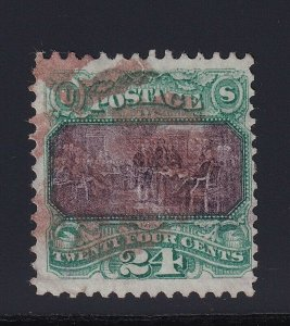 120 F-VF used neat light Red cancel with nice color cv $ 1100 ! see pic !