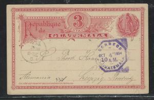 GUATEMALA  (PP2706B) 1894 3C BIRD PSC TO GERMANY