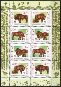 Lithuania 1996 WWF European Bison sheet of 8 MNH