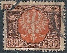 Poland 165 (used filler, corner torn off) 100m eagle (1921)