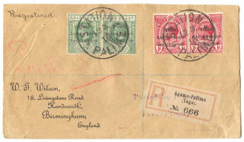 Togo British Occupation, 1916 STATION PALIME R-Cover, Gold Coast Franking