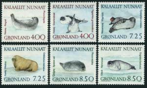 Greenland 233-238,238a sheet,MNH.Michel 211-216,Bl.3. Walrus and Seals,1991.